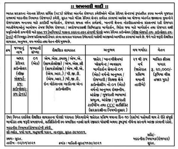 MCC Employment Office Surat Recruitment 2021 for Career Counsellor Post