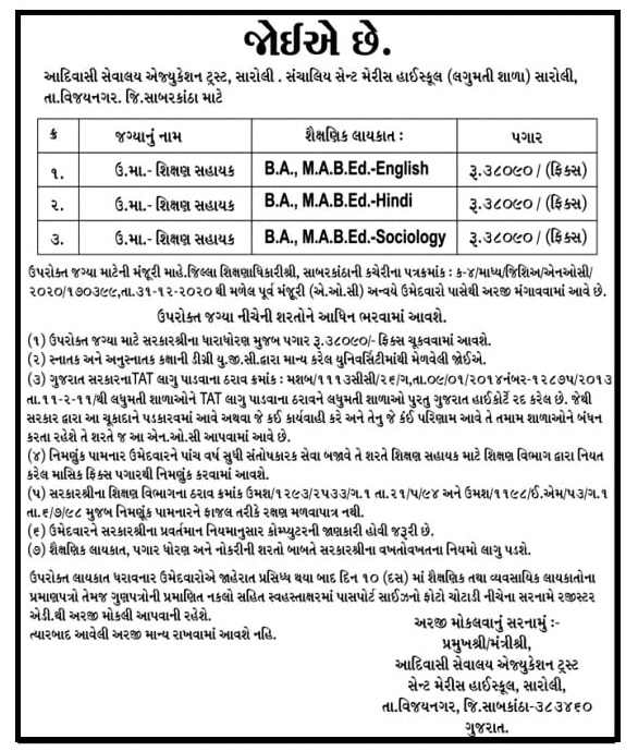 Shikshan Sahayak Recruitment 2021 Granted Laghumati School Sabarkantha 2021